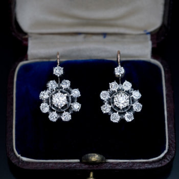 antique silver over gold diamond cluster earrings