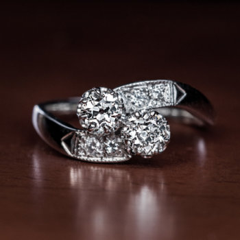 vintage moi et toi bypass diamond engagement ring