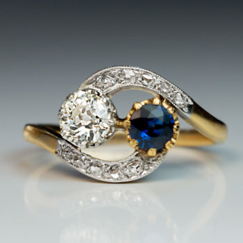 antique sapphire diamond crossover moi et toi engagement ring