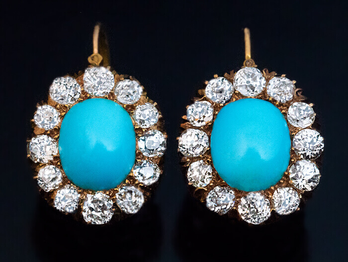 50646cae7fb7d Antique Victorian Turquoise and Diamond Cluster Earrings - Antique ...
