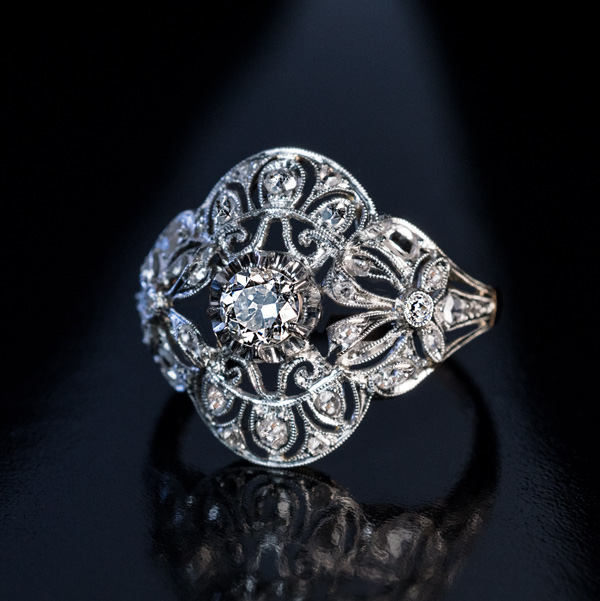 antique edwardian bow motif diamond engagement ring
