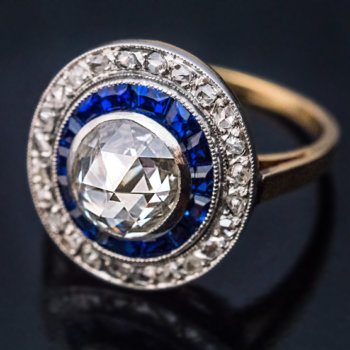 Edwardian jewelry - antique rose cut diamond calibre cut sapphire handmade platinum over gold engagement ring