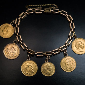 antique gold coin bracelet