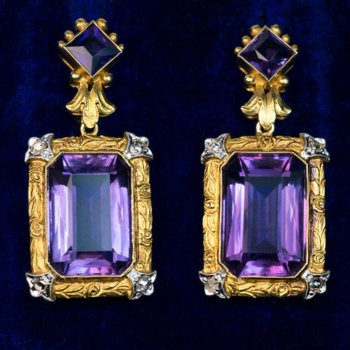 Belle Epoque antique gold amethyst earrings