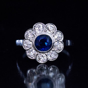 vintage sapphire diamond platinum engagement ring