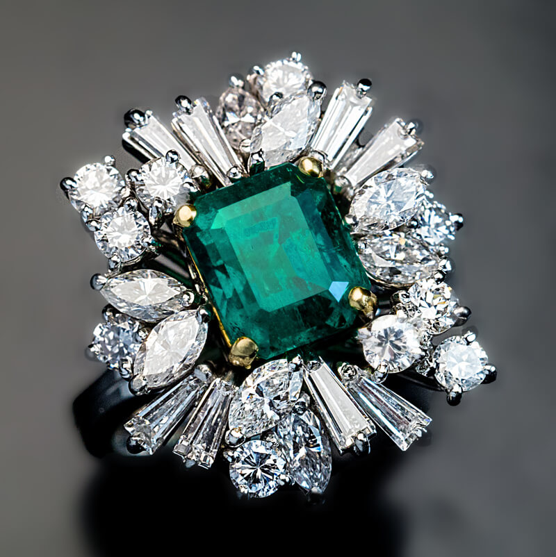 estate incredible diamond brook bavier products vintage ring jewelry emerald bogaty and