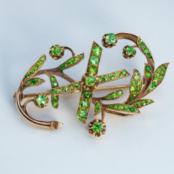 antique demantoid garnet gold brooch