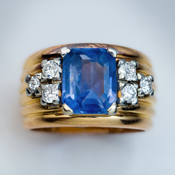 vintage unheated sapphire and diamond ring