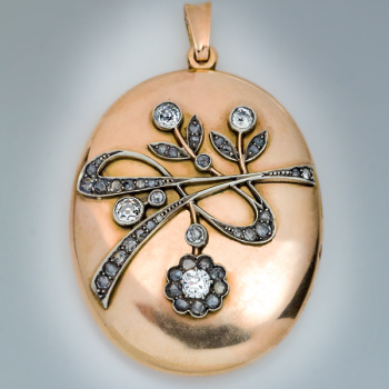 antique Art Nouveau gold, silver and diamond pendant locket