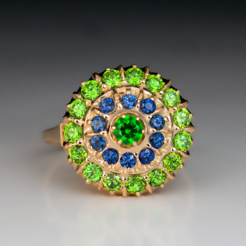 demantoid garnet and sapphire gold cluster ring