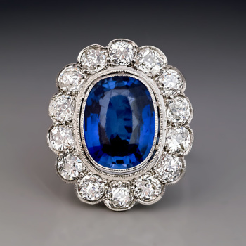 antique sapphire diamond cluster engagement ring in platinum
