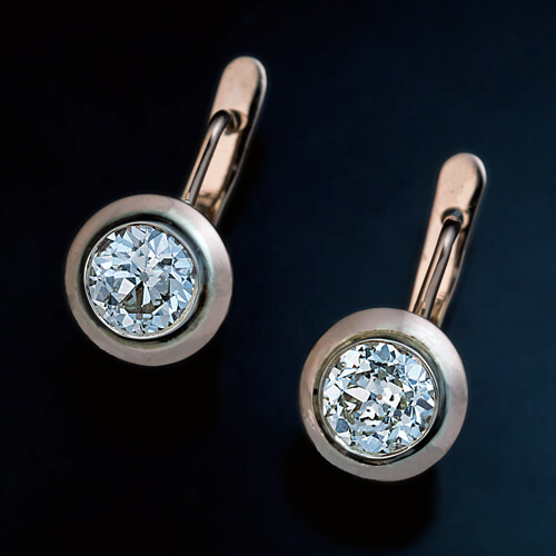 Vintage Russian Solitaire Diamond Earrings In Rose Gold