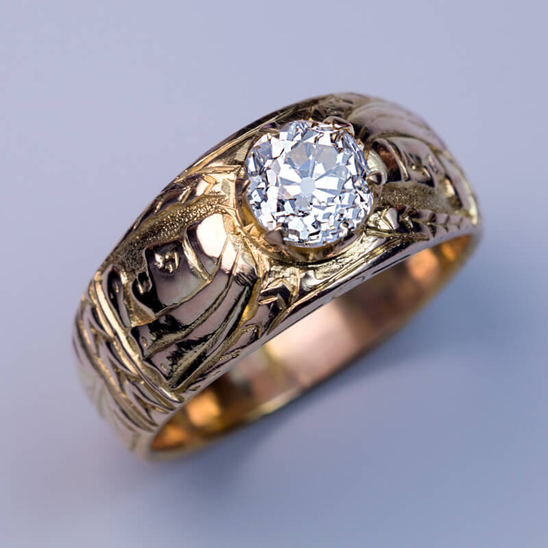Unusual antique diamond chased gold men s ring click on images to