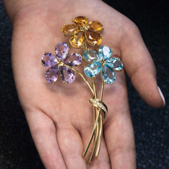amethyst blue topaz citrine gold brooch