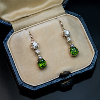 antique Russian demantoid earrings