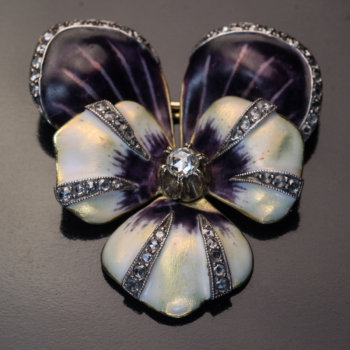 antique gold enamel diamond pansy brooch