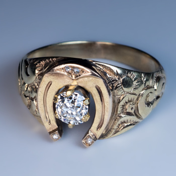 antique diamond gold horseshoe men's ring