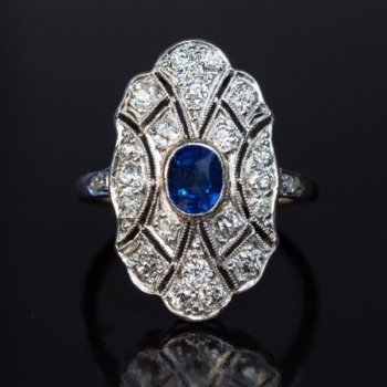 antique sapphire diamond platinum topped gold ring