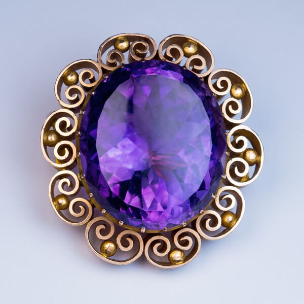 Victorian Era Russian Amethyst Gold Brooch Pin Antique Jewelry