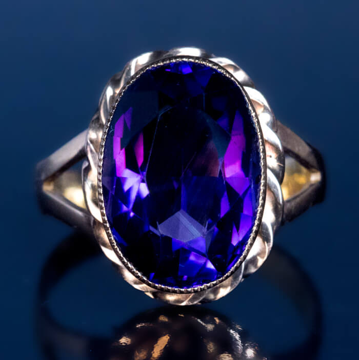 Siberian Amethyst Gold Antique Russian Ring Antique Jewelry