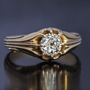 antique solitaire cushion cut diamond ring