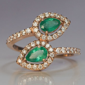 bypass emerald diamond ring