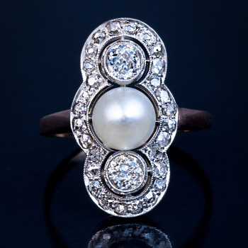 Antique Edwardian diamond and pearl ring
