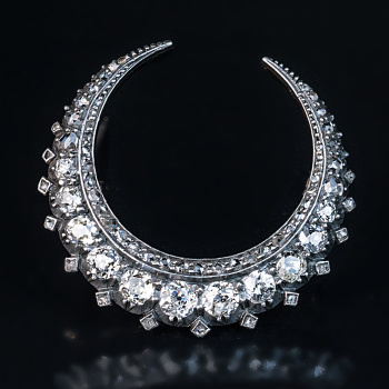 antique Victorian diamond crescent brooch pin