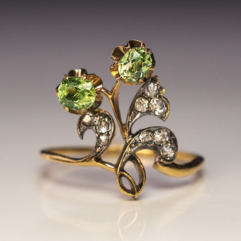demantoid Art Nouveau ring