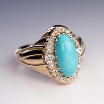 Antique Victorian turquoise diamond ring