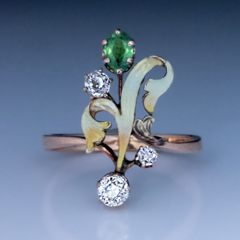 Art Nouveau antique demantoid diamond enamel gold ring