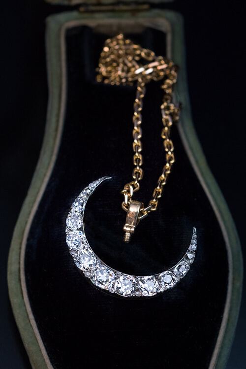 Victorian diamond crescent moon pendant brooch 1880s antique victorian diamond crescent moon pendant brooch 1880s antique jewelry vintage rings faberge eggs aloadofball Image collections