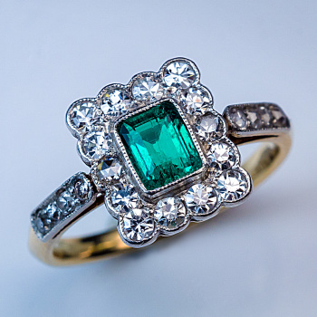antique Edwardian emerald diamond cluster ring