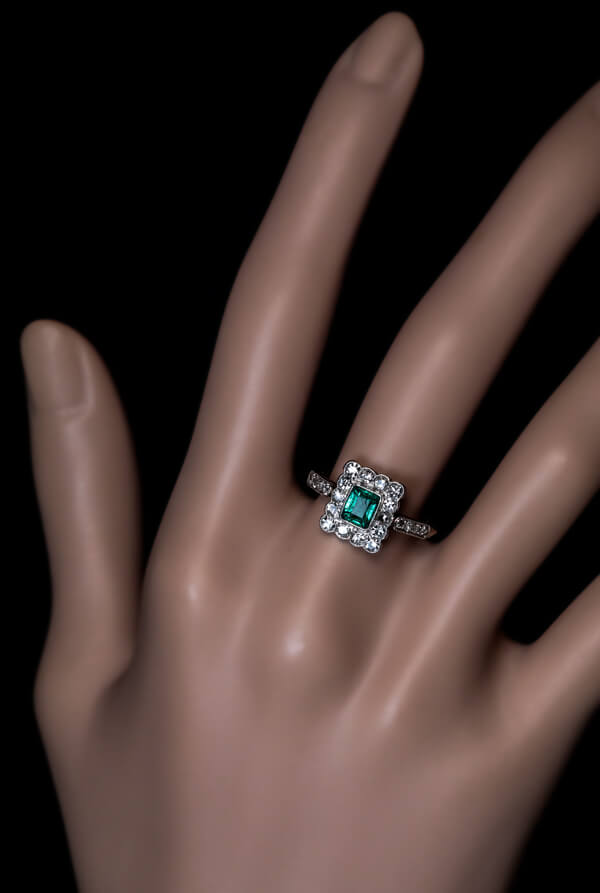 Antique Colombian Emerald Diamond Engagement Ring Antique Jewelry
