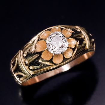 old mine cut diamond gold ring for men
