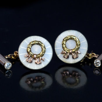 Faberge antique gold enamel studs - cufflinks