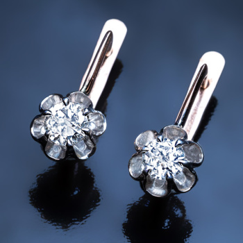 vintage buttercup diamond earrings