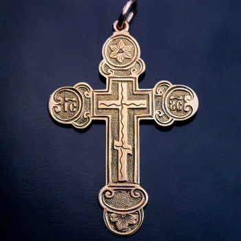 antique Russian chased gold cross pendant