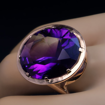 Modernist Siberian amethyst cocktail ring