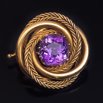 antique Russian amethyst gold brooch pin
