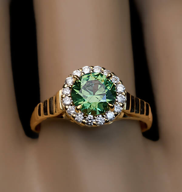Rare 1 23 Ct Russian Demantoid Diamond Engagement Ring Antique Jewelry
