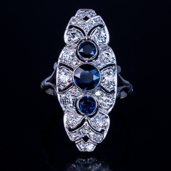 Art Deco rings - diamond sapphire platinum ring