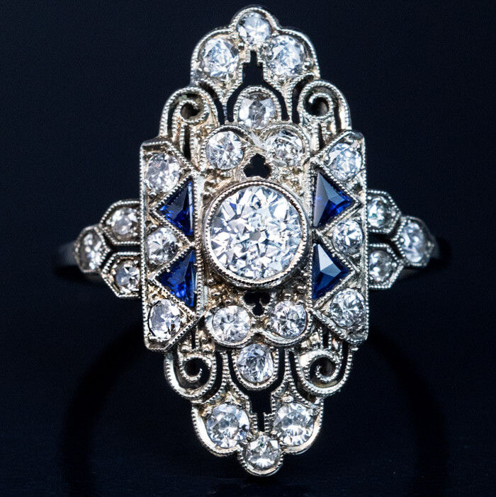 Ornate Art Deco Diamond Sapphire Engagement Ring Antique