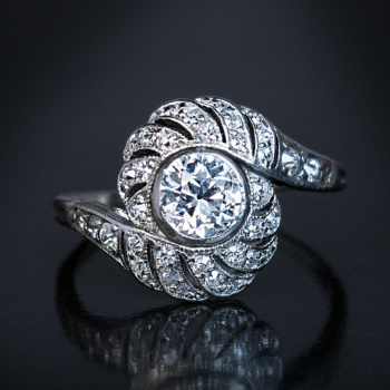 Vintage engagement rings - Tourbillon diamond ring