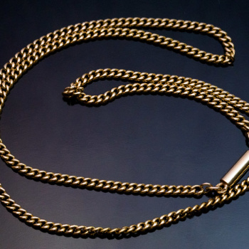 antique 20 inch long gold link chain necklace