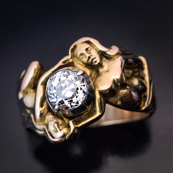 Art Nouveau female woman figure jewelry - diamond gold ring -