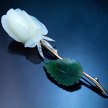 carved white agate nephrite jade rose brooch