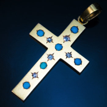 antique turquoise diamond gold cross pendant
