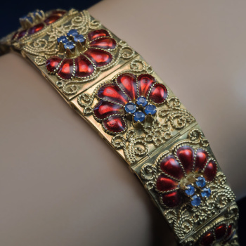 vintage gold and enamel bracelet