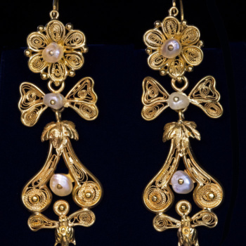 antique gold filigree day to night earrings